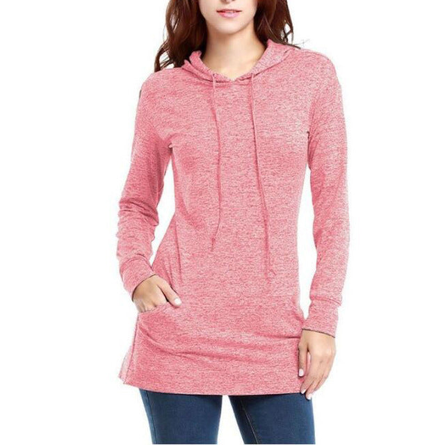 Dasbayla Hoodies Sweatshirts with cap and Pocket 2017 Autumn Winter Solid Color Cotton long Sleeve tunic Tracksuit Pullovers