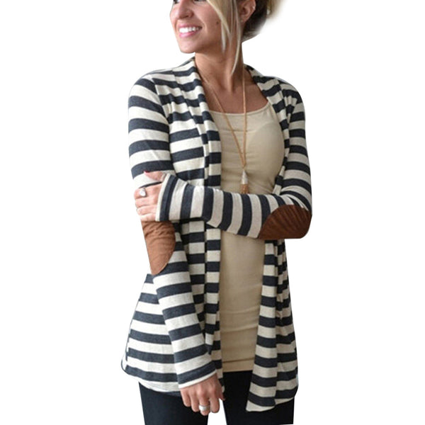 Women's Elbow Patch Long Sleeve Shawl Collar Striped Cardigan Sweater Cotton