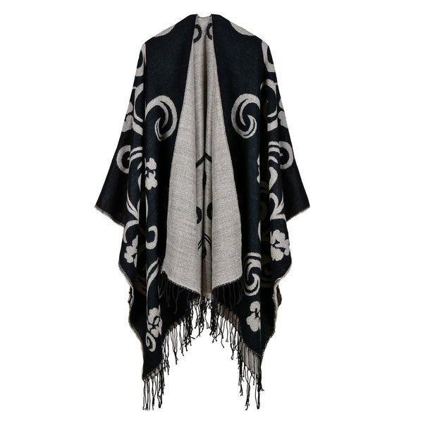 2017 brand women poncho thick quality warm winter scarf cashmere feeling ponchos and caps with Tassels female knit Blanket coat