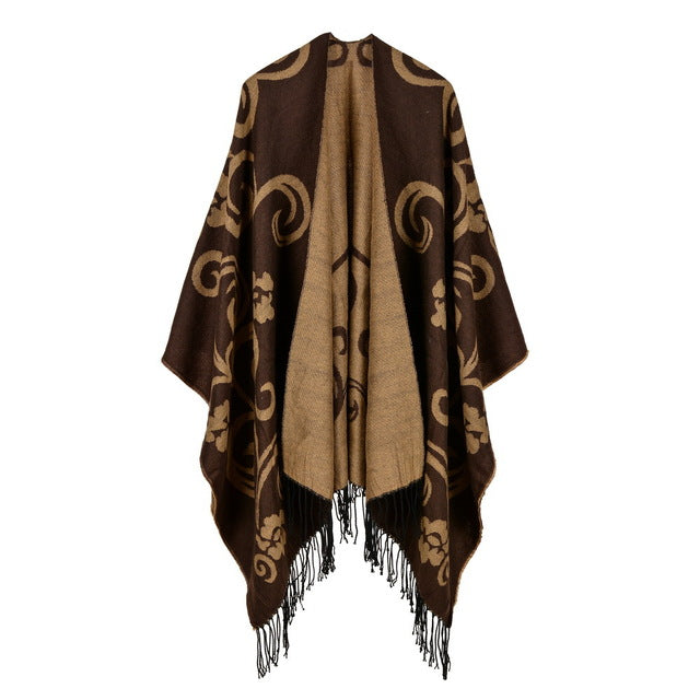 cfa706217 ... 2017 brand women poncho thick quality warm winter scarf cashmere  feeling ponchos and caps with Tassels ...