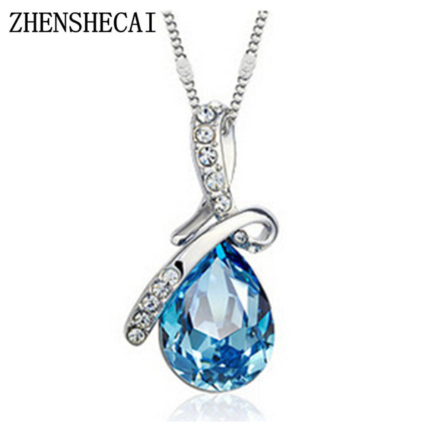 Fashion Jewelry 2 colors Long Crystal Heart Pendant Necklace Chain For Women Love Necklaces & Pendants Collares x  331