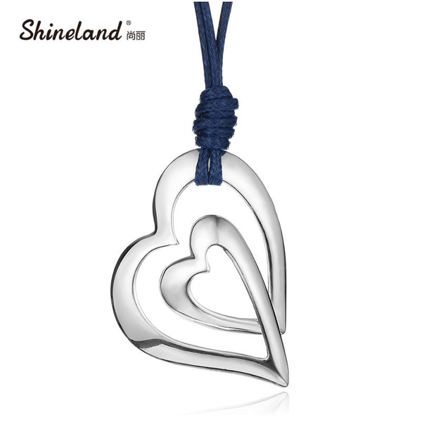Shineland Trendy 3 Style Love Heart  PU Leather Chain Vintage Antique Silver Color Drawing Long Necklace Statement Women Jewelry