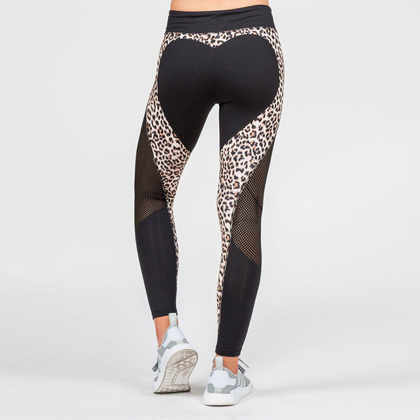 Love Heart Sexy Slim Women Leggings Leopard Mesh Workout Leggings High Waist Sporting Fitness Leggings Push Up Female Knit Pants