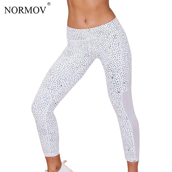 NORMOV Fashion Striped Mesh Leggings Women Sporting Leggings Women's Fitness Legging High Waist Patchwork Jeggings S-XL