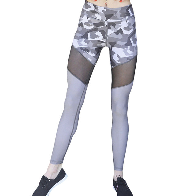 2017 New Fashion Sexy Women Camouflage Print Mesh Splice Leggings Pants Workout Skinny Slim Fitness