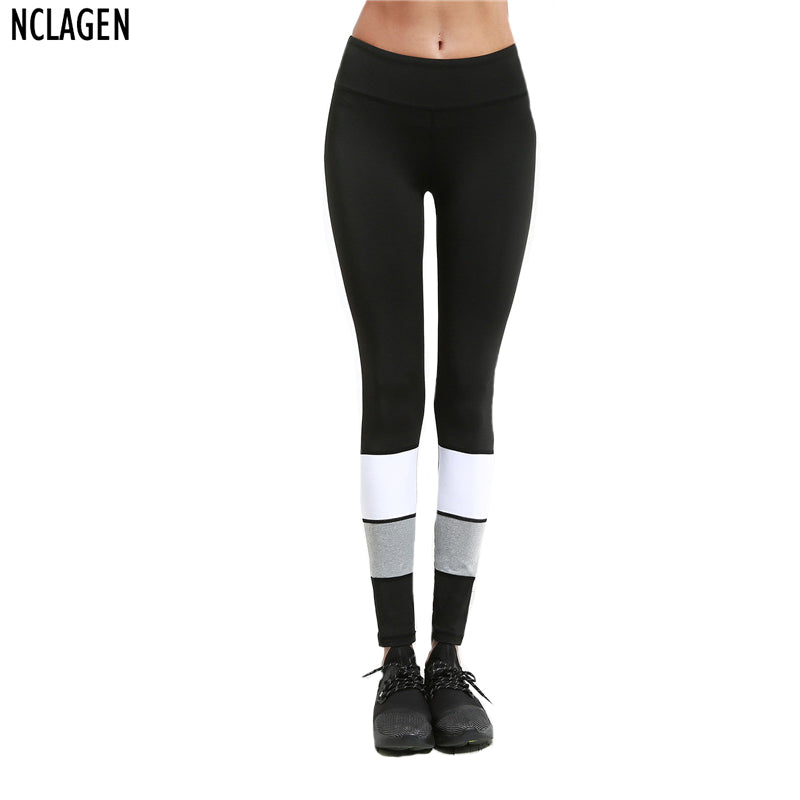 NCLAGEN New Women Mesh Black Grey White Patchwork Sweatsuit Slim Fit Leggins Contrast Color Elastic Workout Leggings For Women