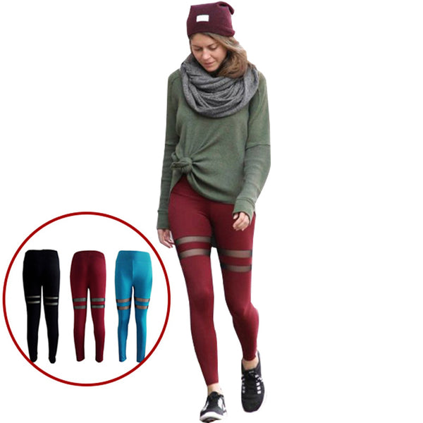 Casual Women's Leggings Fashion Plus Size Mesh Patchwork Leggings Female Elastic Fashion Workout fitness Leggings Women
