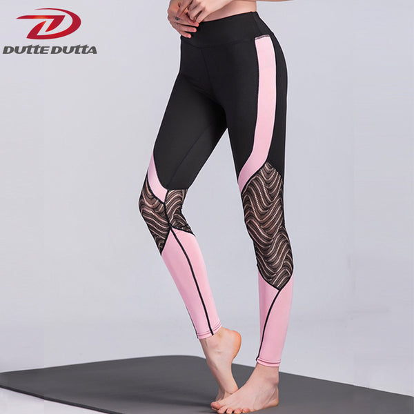 DutteDutta Sexy Lace Patchwork Workout Trousers Sporting Leggings For Women High Waist Slim Mesh Fitness Leggings Elastic Style