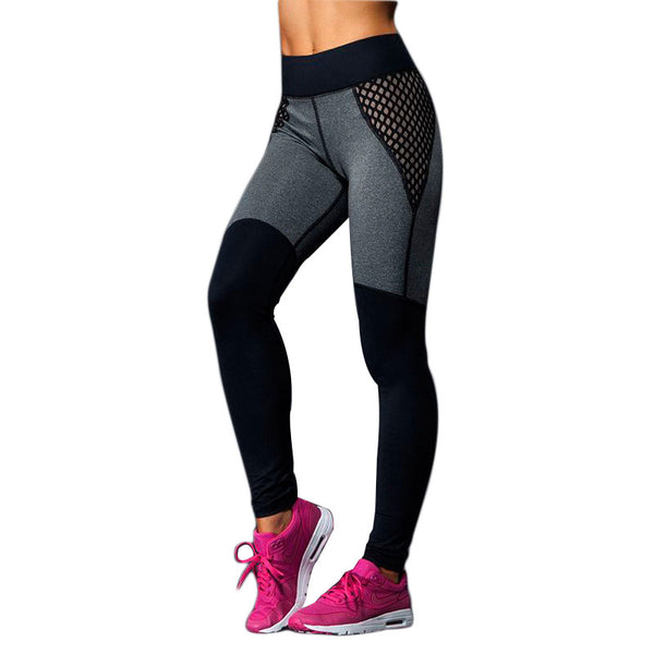 2017 Women Contrast Color Mesh Leggings Work Out Pants Leggins Mujer Ladies Slim Jeggings