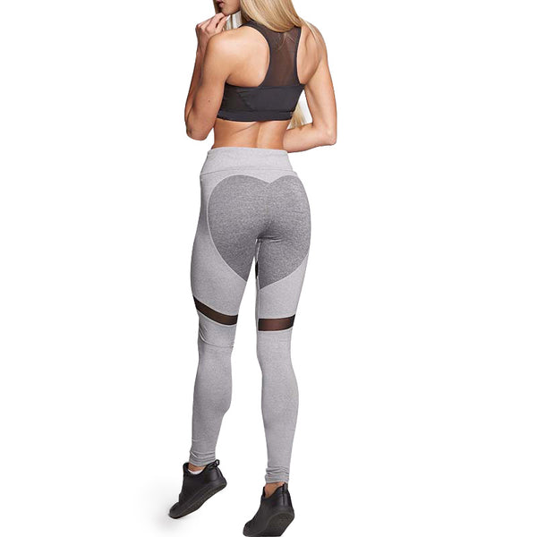 2017 Fashion Heart Pattern Mesh Splice Leggings Harajuku Athleisure Fitness Clothing Elastic Sporting Leggings Women Pants