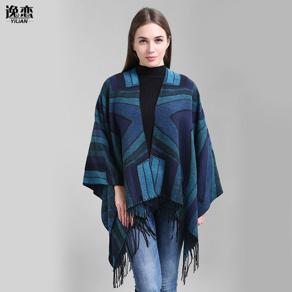 YI LIAN Brand Fashion Women Geometric Lirregular Diamond Patterns With Tassel National Wind Shawl Poncho Cape Wrap  SF858