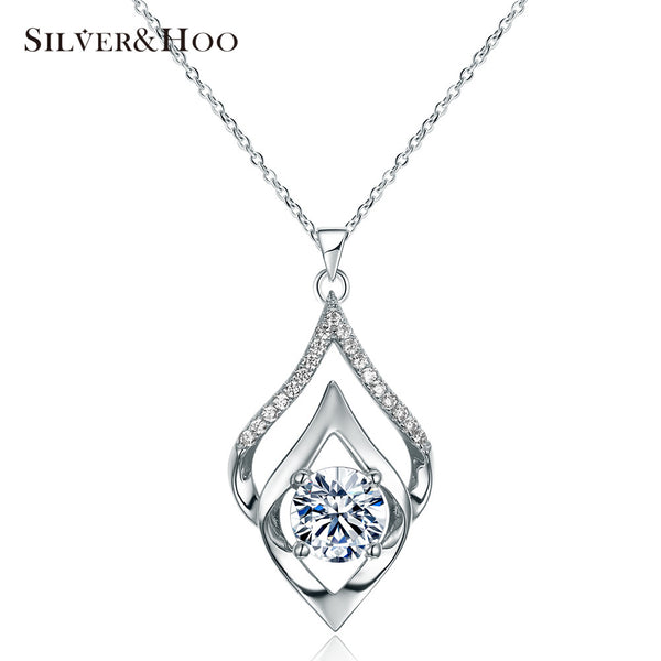 SILVERHOO Women Elegant 925 Sterling Silver Pendant Necklace for Women Fine Jewelry Party Accessories with Shining Zircon