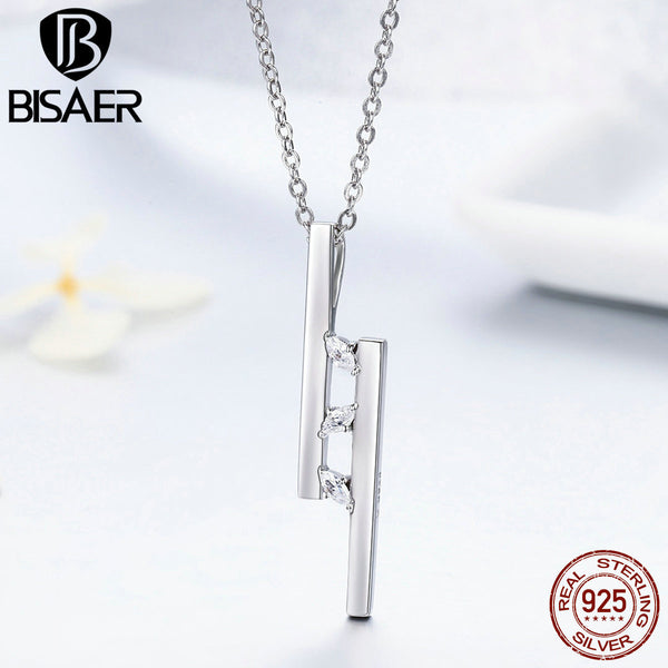 Authentic 925 Sterling Silver Modern Geometric Pendant Necklaces for Women, Clear CZ Luxury Sterling Silver Jewelry Gift GXN127