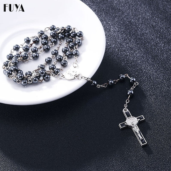 6mm hematite rosaries beads long chain necklaces men women Prayer rosary catholic chotk jesus christ cross pendant jewelry