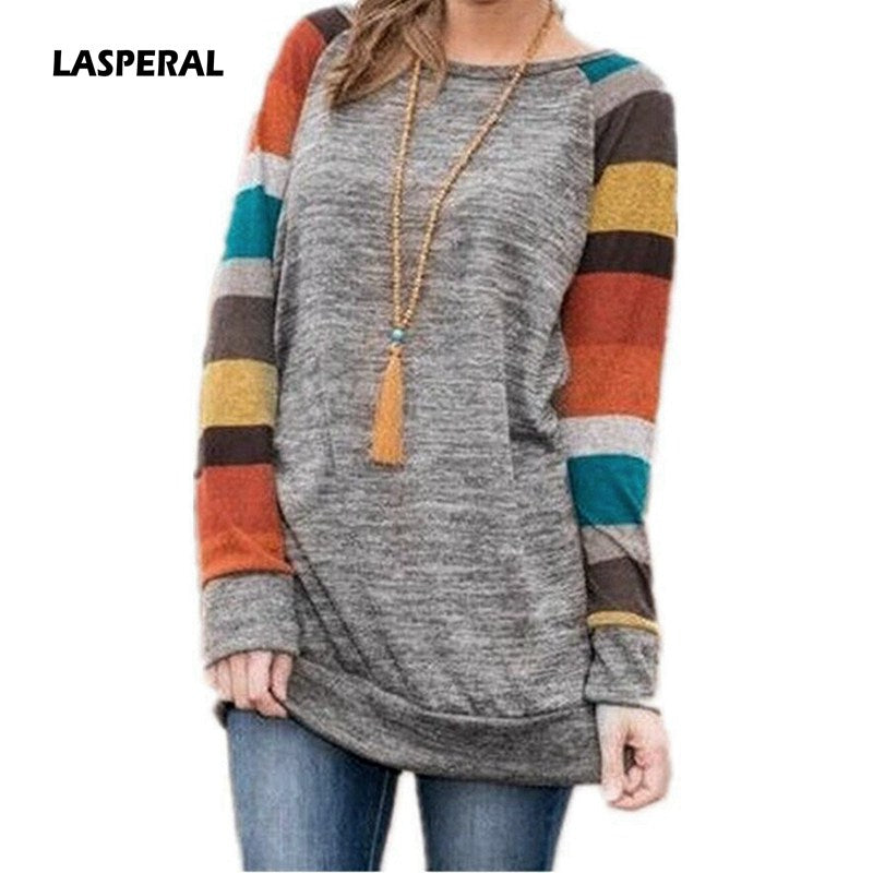 LASPERAL 2017 Autumn Winter Tee Shirt Women Long Sleeve O Neck Striped Patchwrork T-Shirt Casual Loose Soft Warm Slim Tee Tops