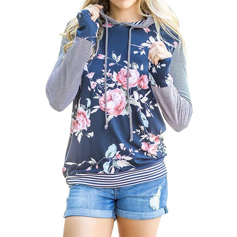 Autumn Winter Women Casual Floral Printed Hoodies Sweatshirts Short Sleeve Hooded Pullover Tunic Tops WS2817V