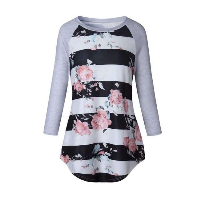 Female Popular 2017 Sweater Flower Printed Pullovers Knit Casual Striped Sweater Women Soft Long Sleeves Sweater W1