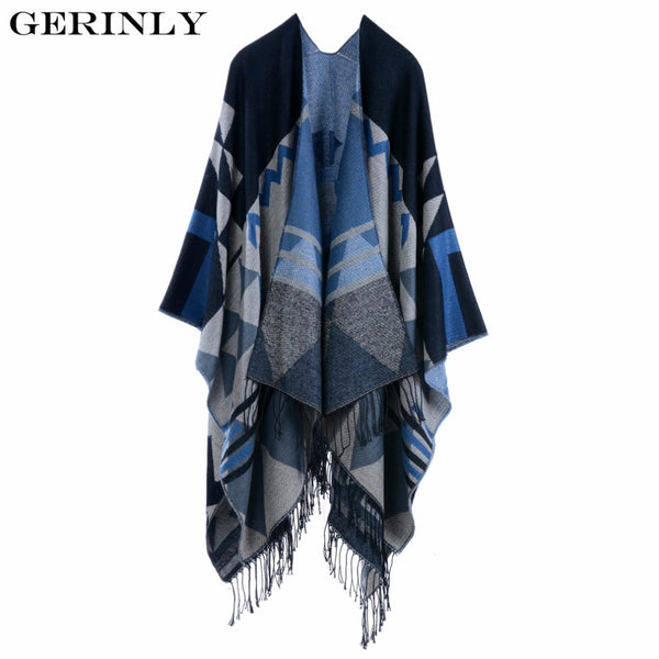 GERINLY Brand Design Bohemian Tassel Scarf Pashmina Women's Winter Warm Scarves Blanket Shawls Female Long Thicken Cape Poncho