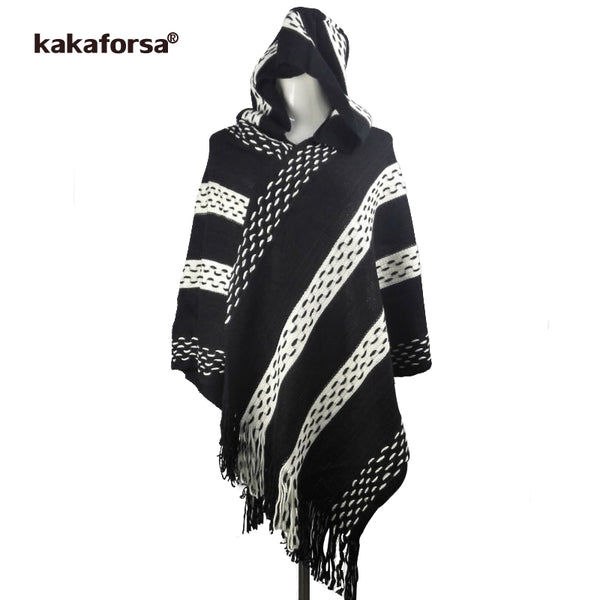 Kakaforsa Winter Warm Knitted Striped Hooded Sweater Wrap Ladies Tassels Loose Cloak Pullover Women Irregularity Poncho Sweaters