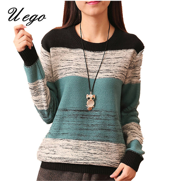 Uego 2017 Fashion Striped Sweet Ladies Girl's Autumn Winter Knitted Sweater Slim Pullovers Knitting Sweater Women Casual Sweater