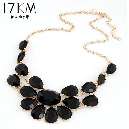 17KM Fashion lady Banquet Accessories multicolour acrylic gem choker necklace Pendant jewelry statement bib necklace women