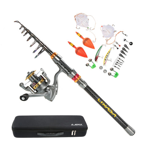 2.1/2.4/2.7/3M Telescopic Fishing Rod Reel Combo Plus Fish Line, Lures, Hooks, Weights And Bag Case