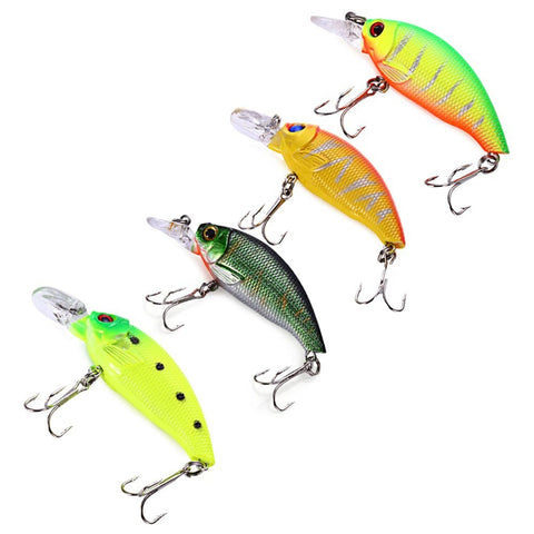 4pcs 7.5cm 8.3g Bass Fishing Lure With 3D Laser Eyes