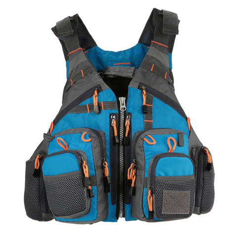 Outdoor Fishing Vest With 11 Zippered Pockets, Multi Attachment Ladders And Accessory Loops
