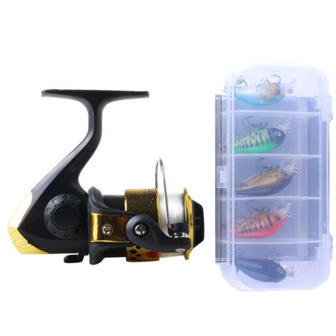 5Pcs Fishing Crankbaits in a box plus FREE Spinning Reel and Line