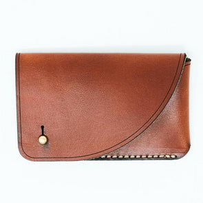 Leather Business Card Case: Chestnut