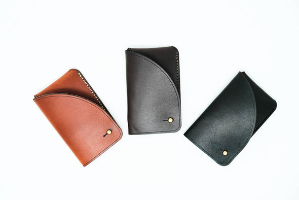 Leather Business Card Case: Sable