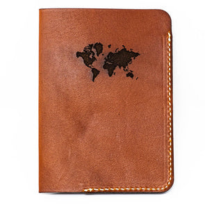 Leather Passport Cover: Continental Edition- Chestnut