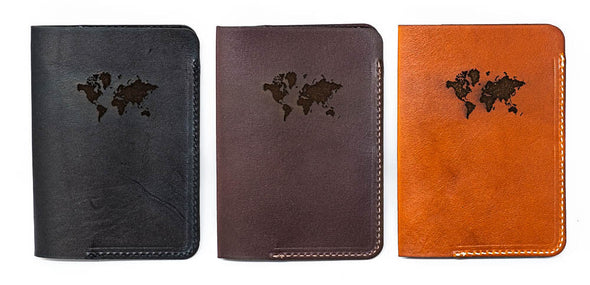 Leather Passport Cover: Continental Edition- Bison