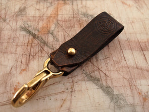 Handmade Bison Brown Leather Belt Key Clip, 12 colors available
