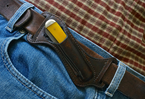 Handmade Pancake Style Trapper Knife Belt Sheath