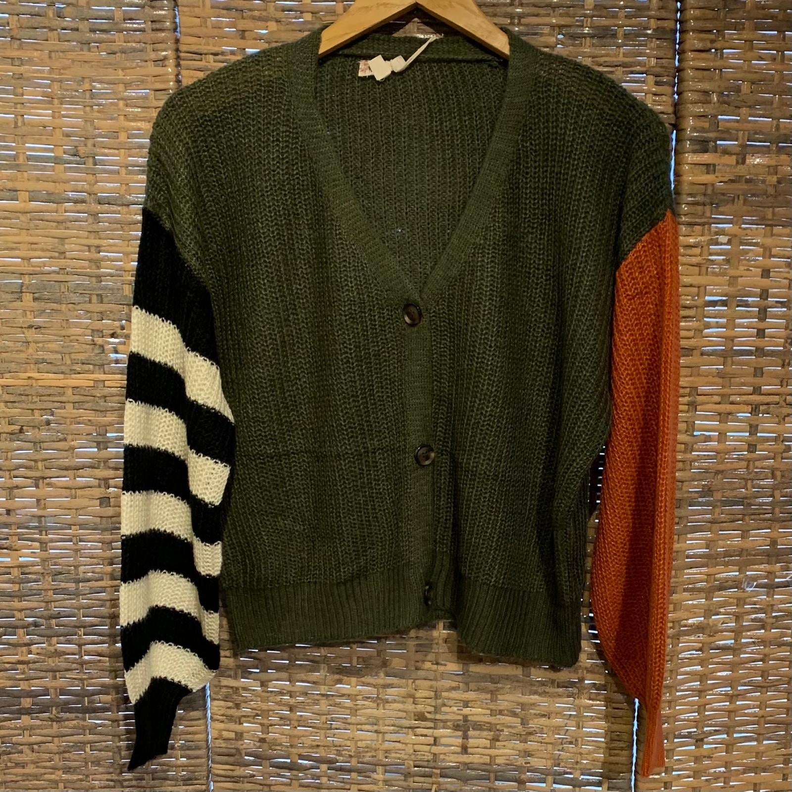 Color Block Stripe Sleeve Cardi