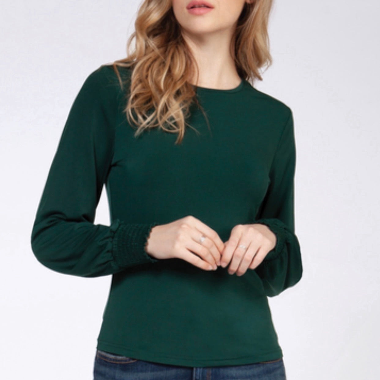 Green Smocked Sleeve Top