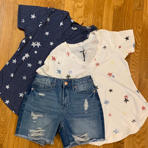 Distressed Star Tee Navy or Ivory