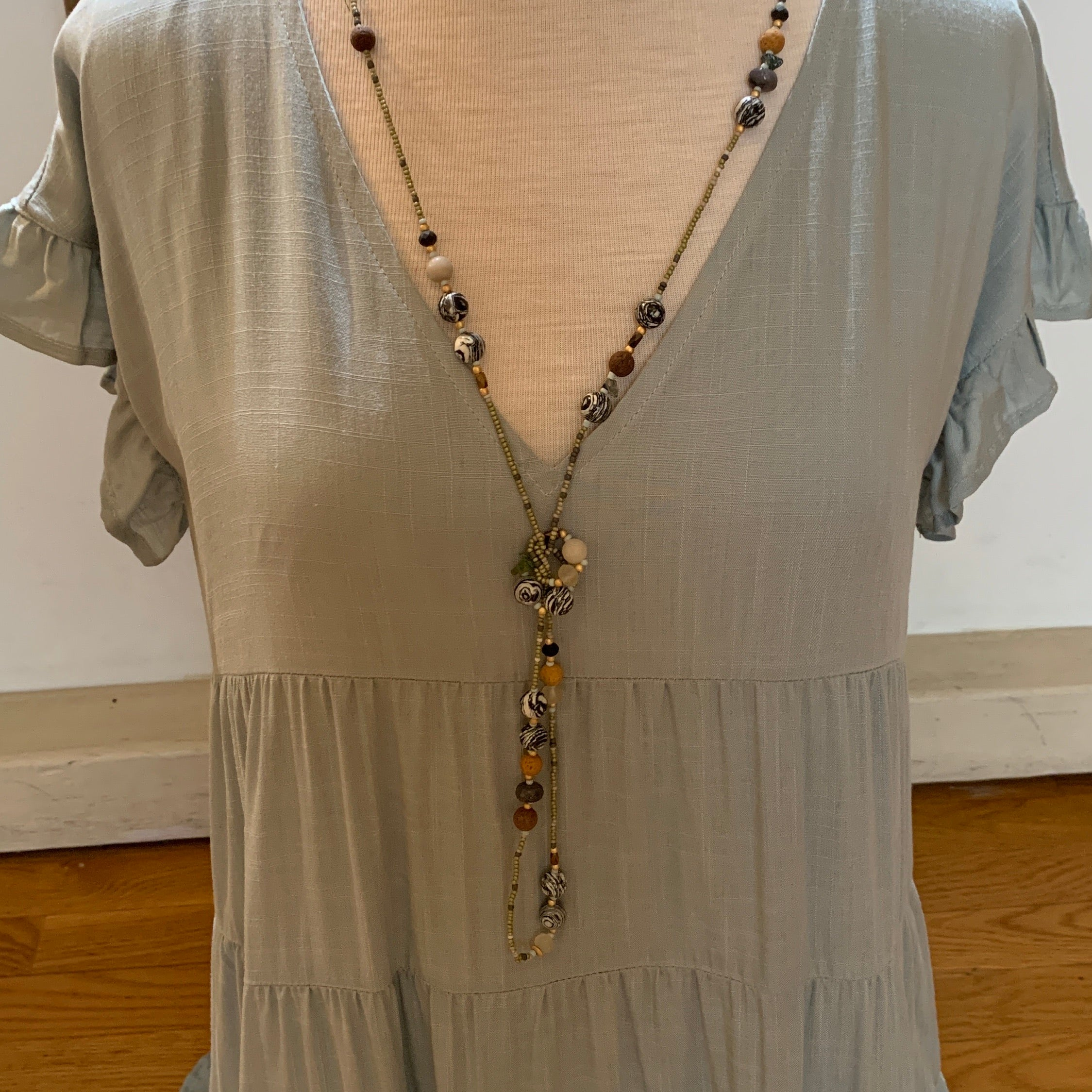 MULTI Color Bead Long Strand Necklace