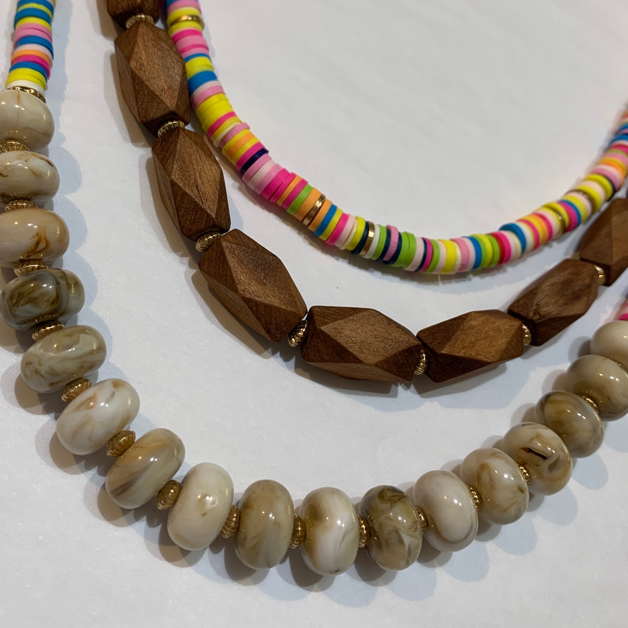 Multi Color & Wood Bead Necklace