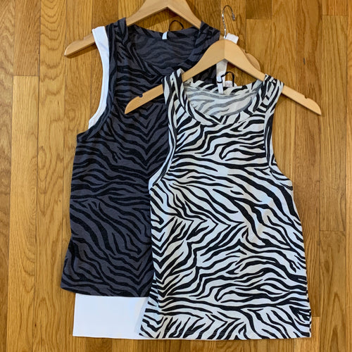 Zebra Racer Tank - 2 Color Options