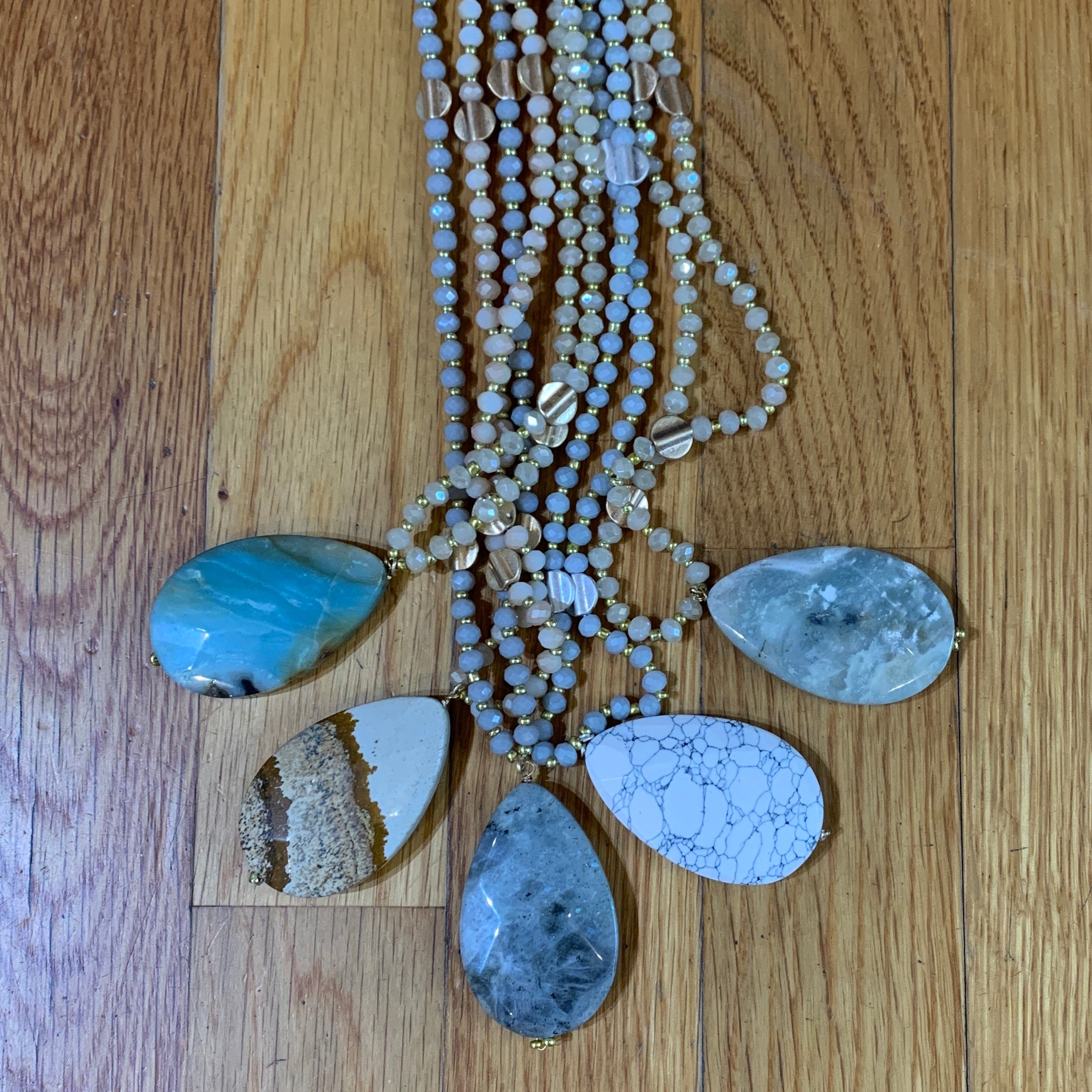Stone Teardrop & Bead Necklace