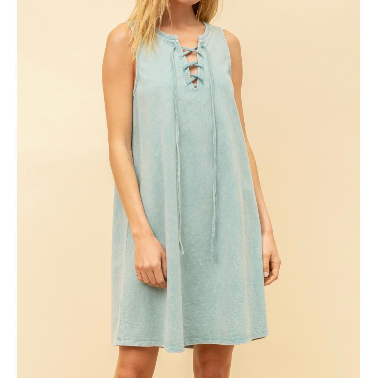 French Terry Lace Up Dress