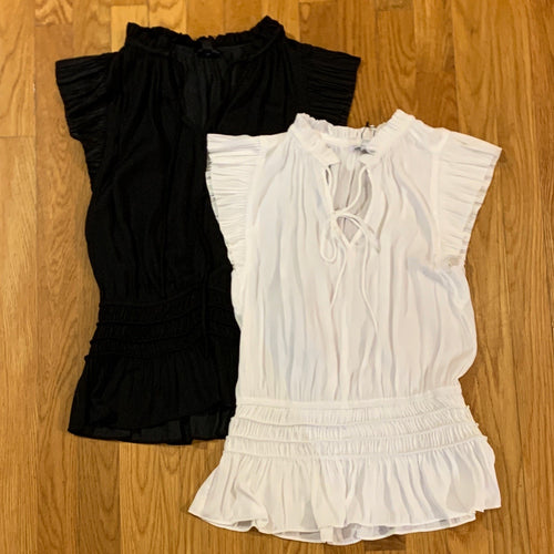 Smocked Shorty Top White or Black
