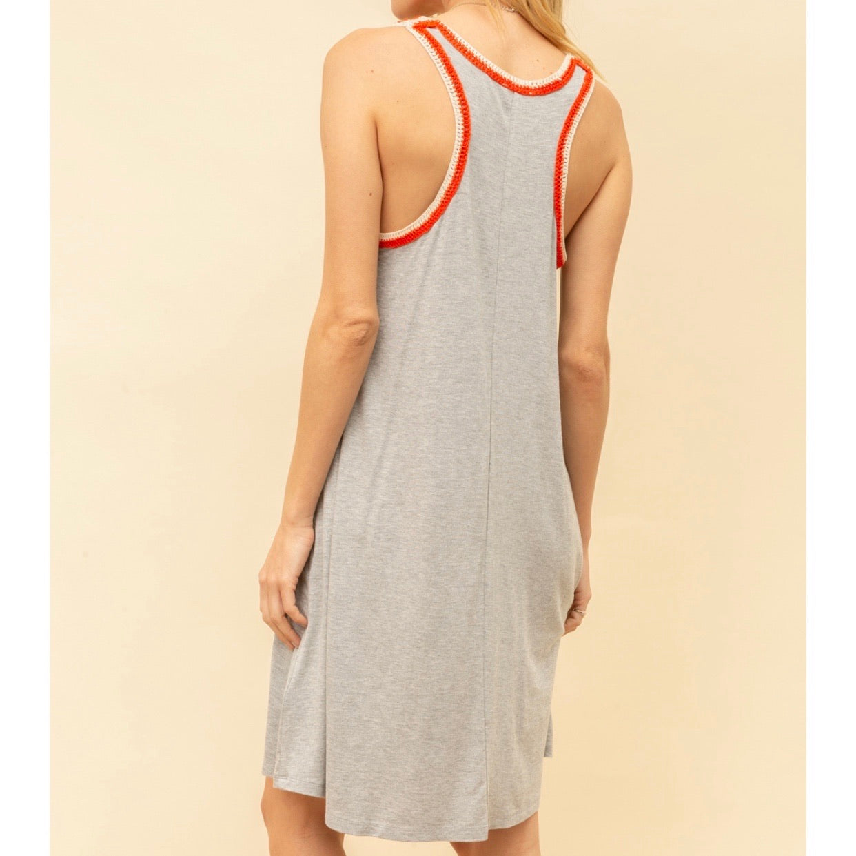 Crochet Trim Jersey Tank Dress