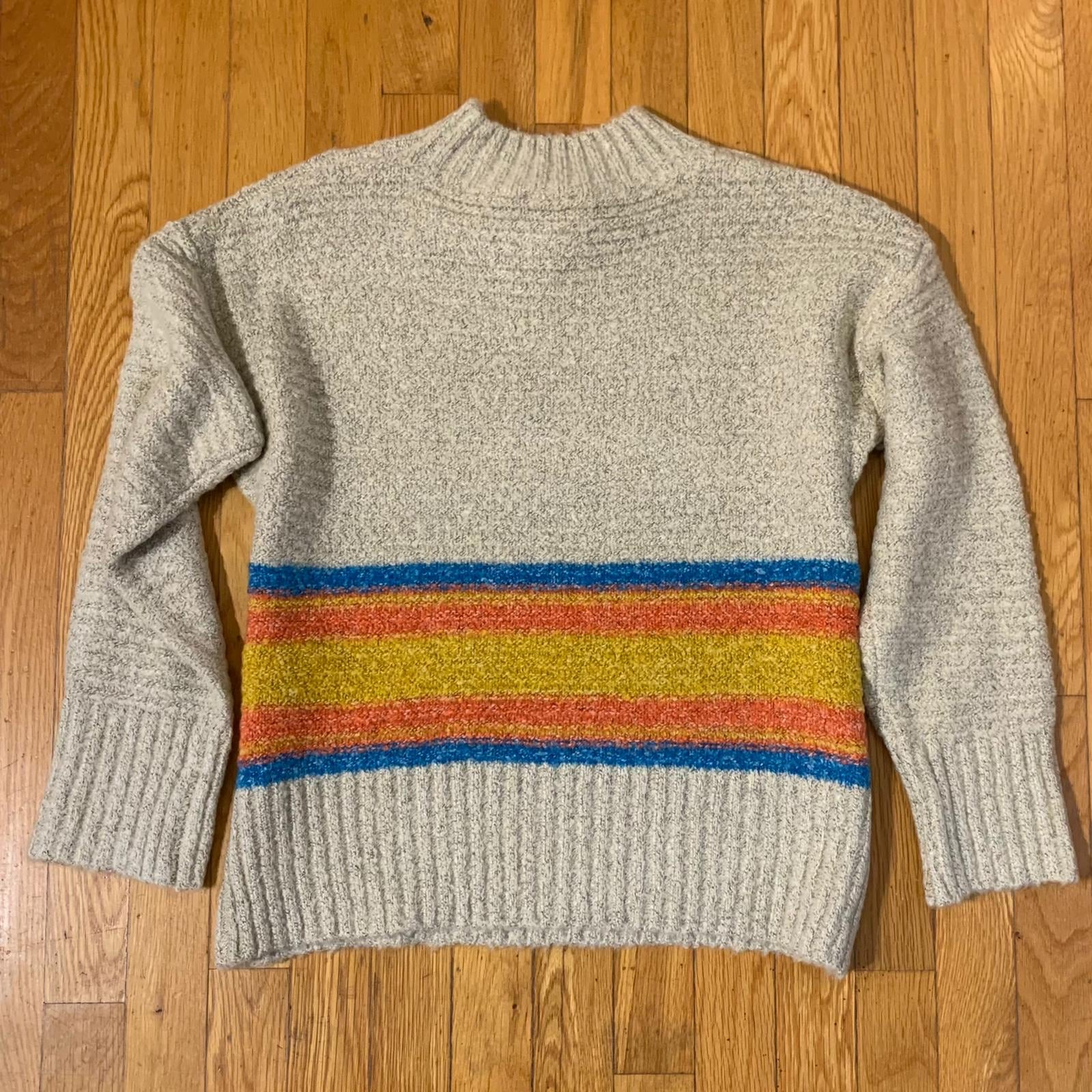 Mock Neck Stripe Sweater