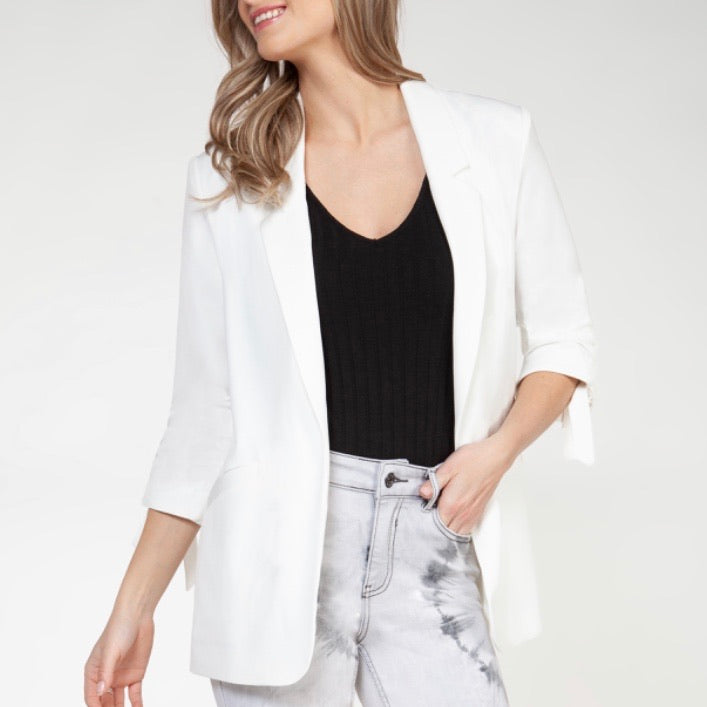 3/4 Ruched Sleeve Open Blazer