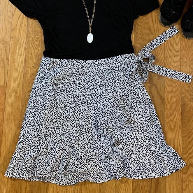 Spotted Wrap Skirt