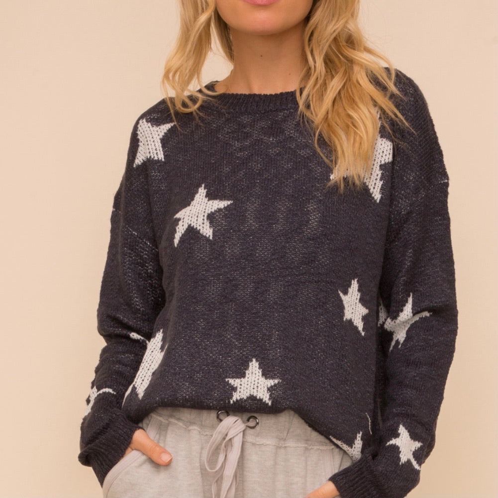 BESTSELLER Navy Star Sweater
