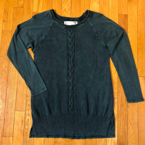 Mineral Wash Raglan Cable Sweater Tunic